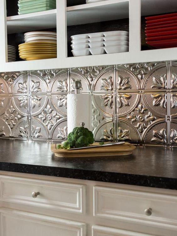 39.Kitchen stylish upgrade with metallic-finish tiles