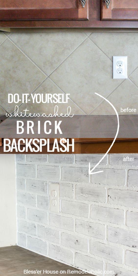 44.whitewashed (faux) brick backsplash