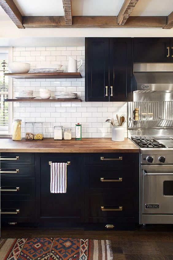 46 1 Black White and Warm Kitchen via simphome