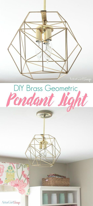 5.Inexpensive DIY Brass Geometric Globe Pendant Light