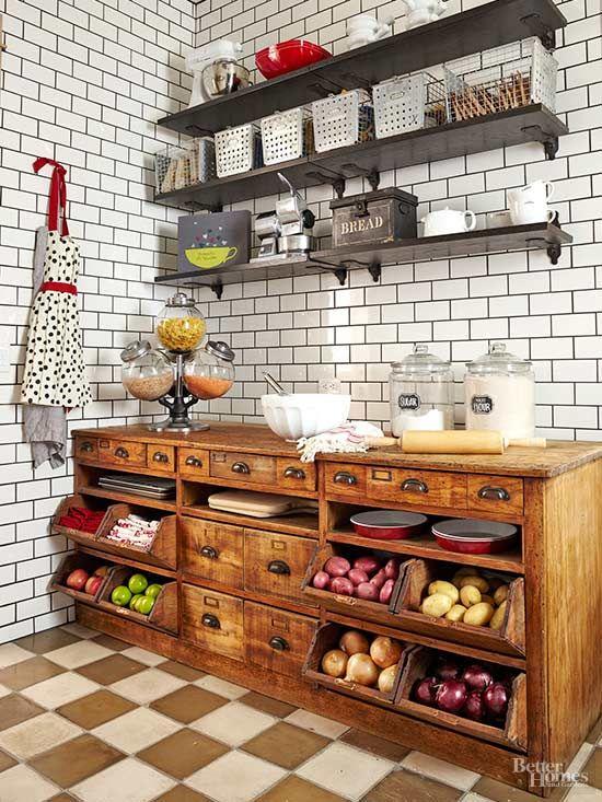 71 Stylish Vintage and Industrial Kitchen via simphome com