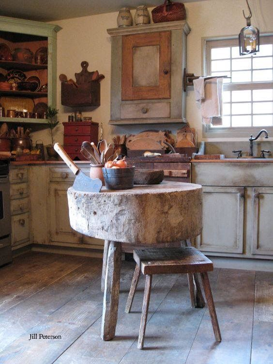 72 Wooden Log Kitchen Island via Simphome com