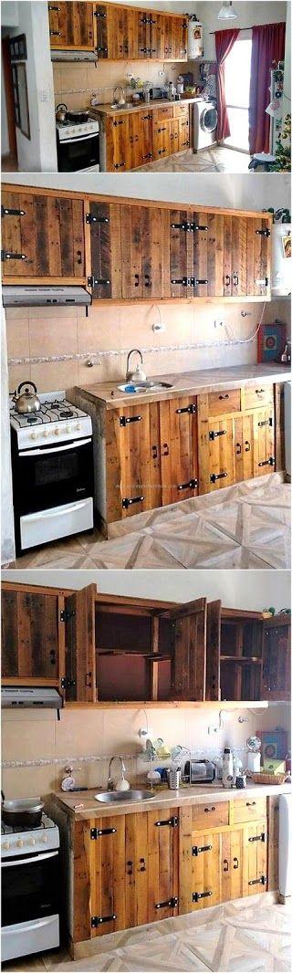 74 Pallet Kitchen Cabinets via simphome