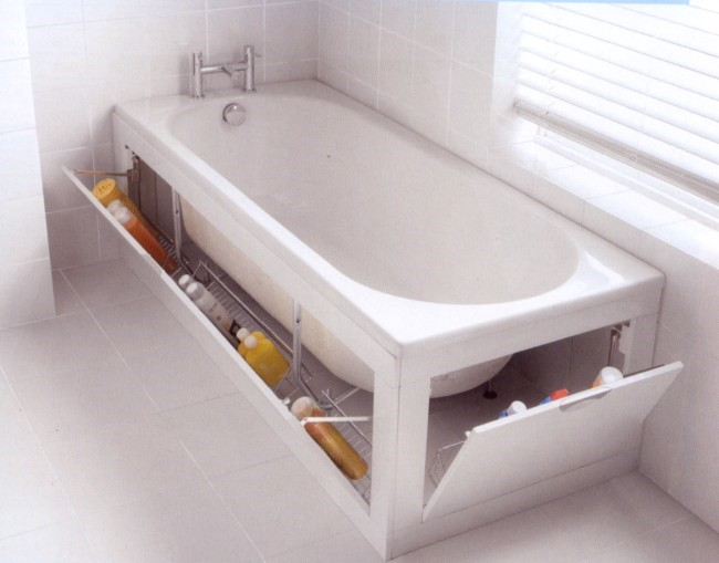 10 Under The Bathtub Storage via simphome