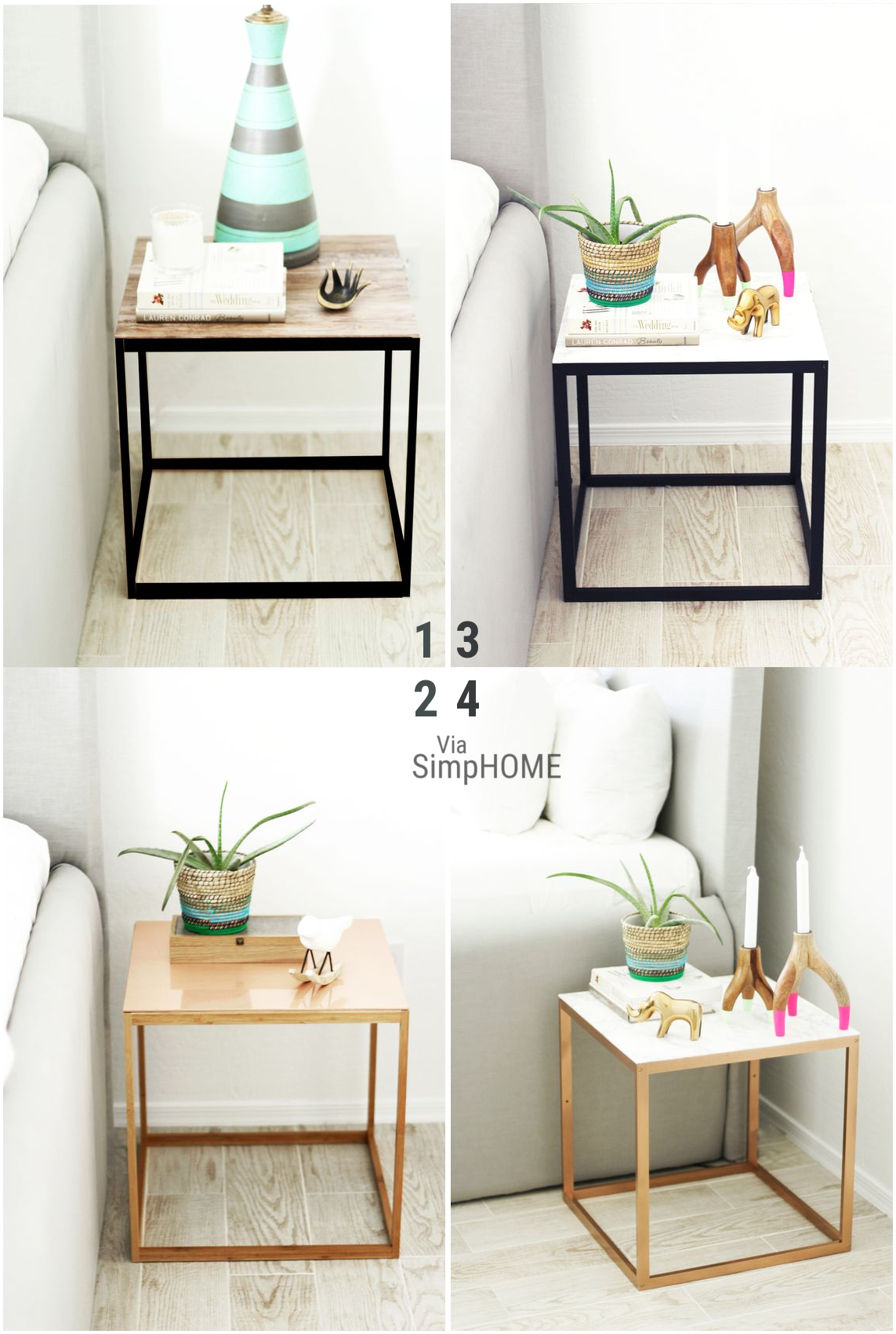 10 Dress up a side table in contact paper and spray paint via simphome
