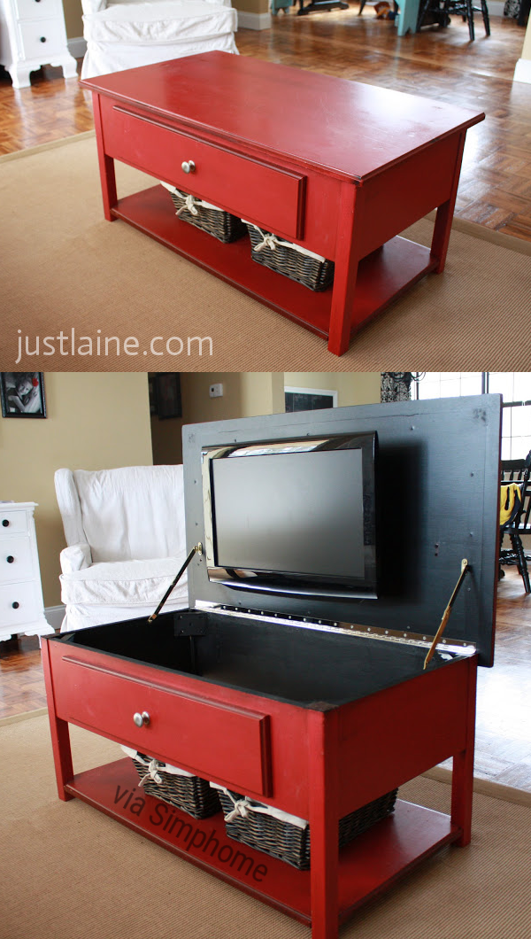 25 The Amazing Red Coffee Table via Simphome