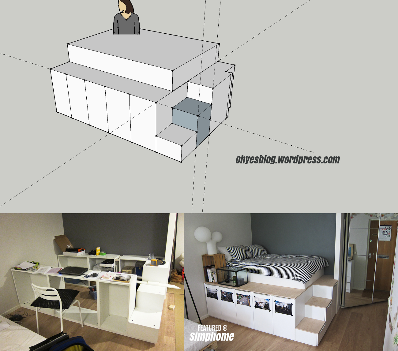 38 Build a platform bed with under bed storage using IKEA cabinets via simphome
