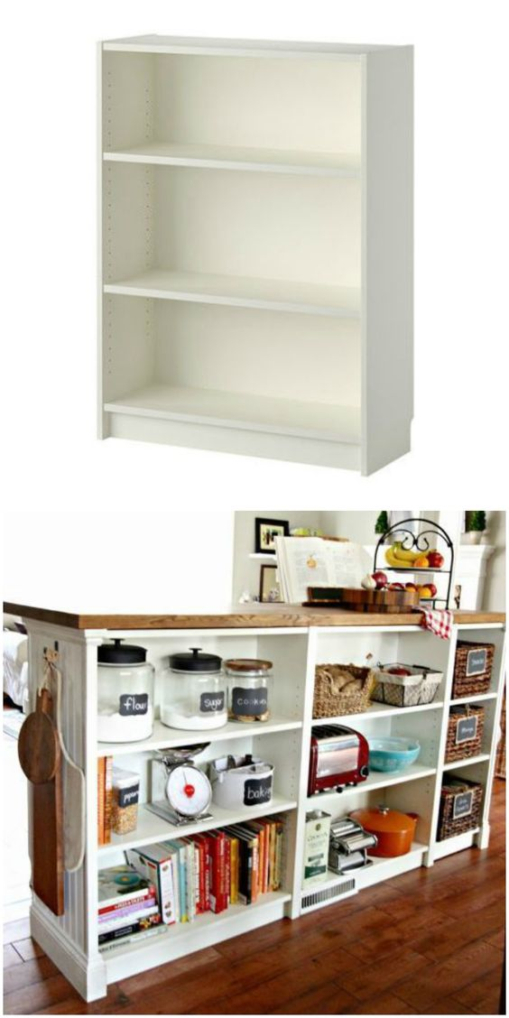 39 Build a sleek and versatile kitchen island using IKEA BILLY bookcases via simphome