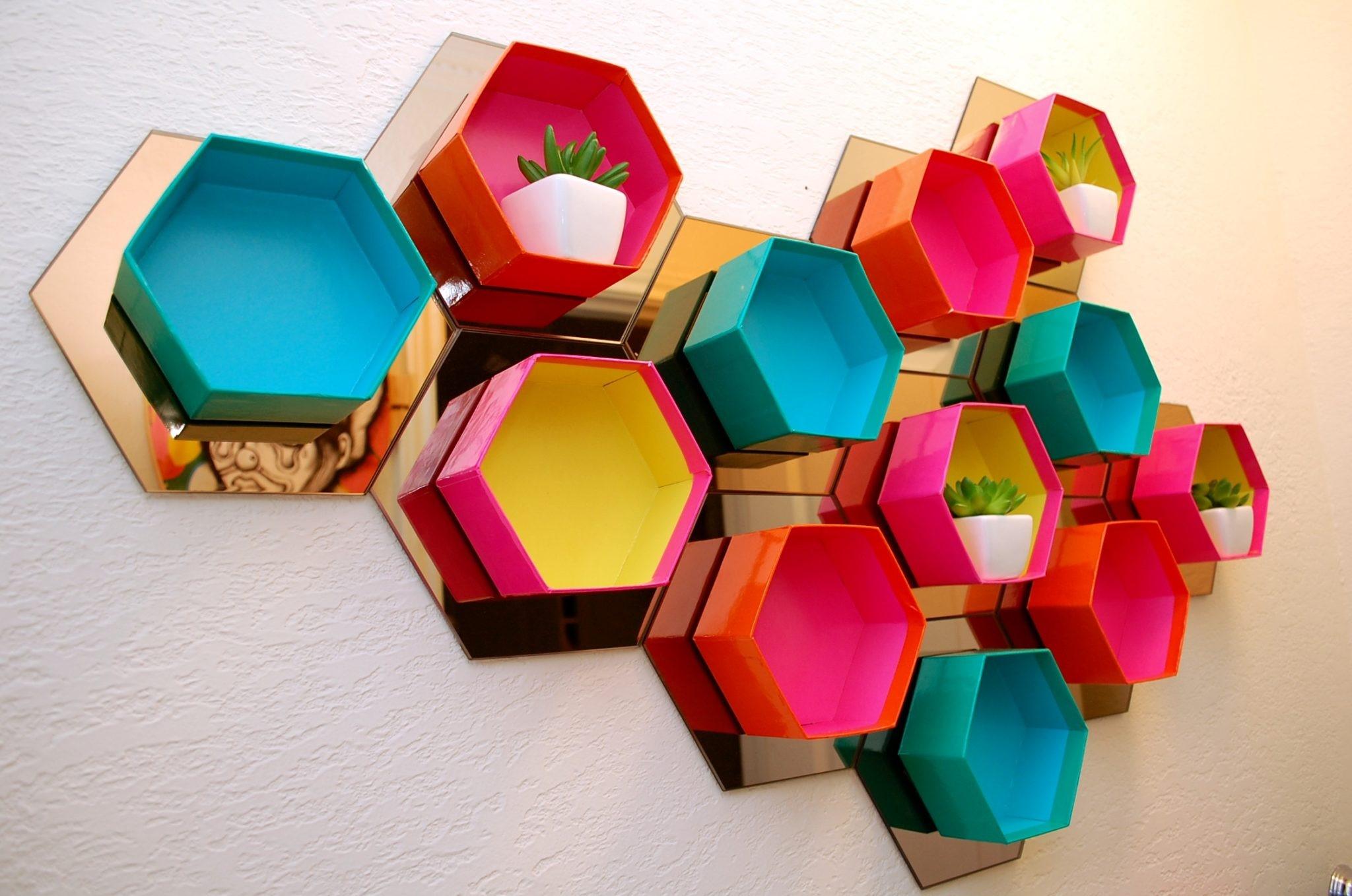 4 Colorful Hexagon Shelf via simphome