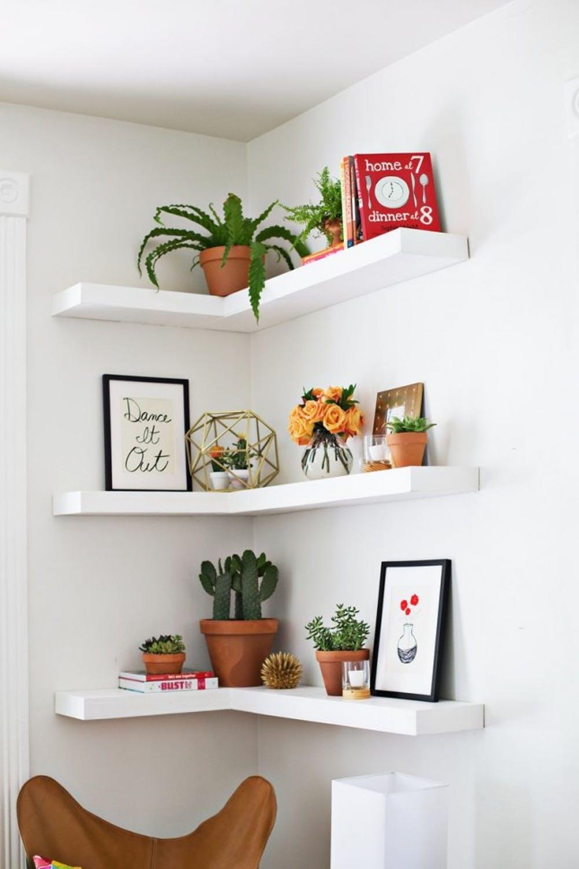 4 Corner Shelves hanging ideas via simphome