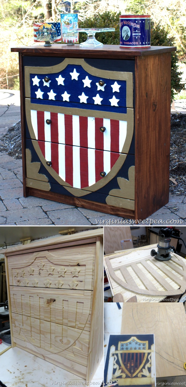 4 Patriotic Dresser Rast makeover via simphome