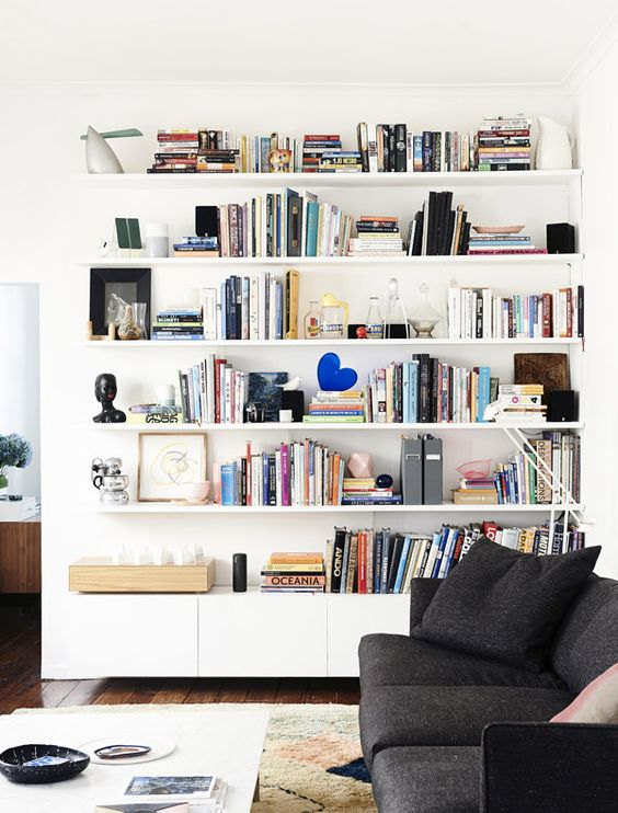 41 IKEA picture ledges can also be used as fancy shelves for books via simphome