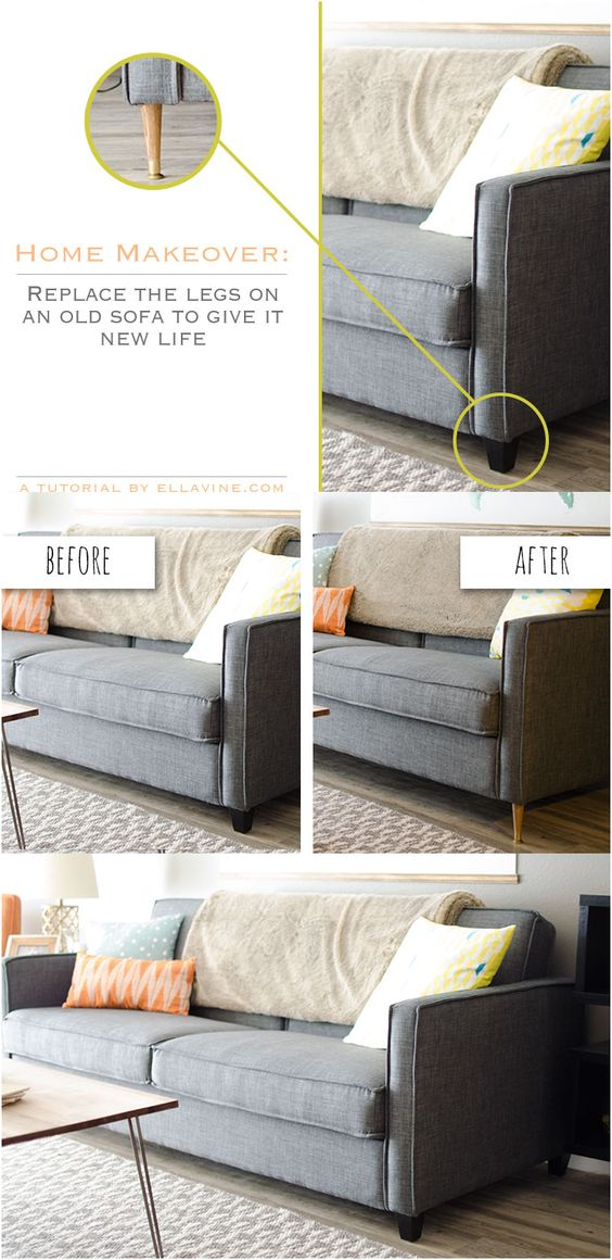 5 Replace the legs on your current sofa via simphome