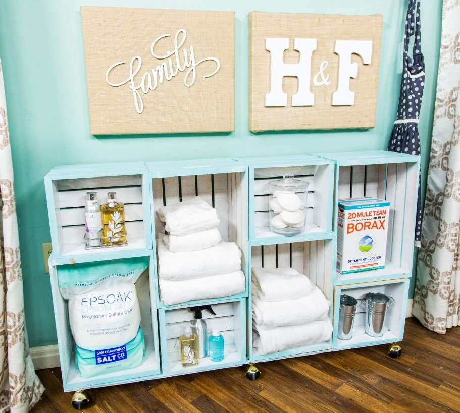 6 Turquoise Wooden Crate Shelves via simphome