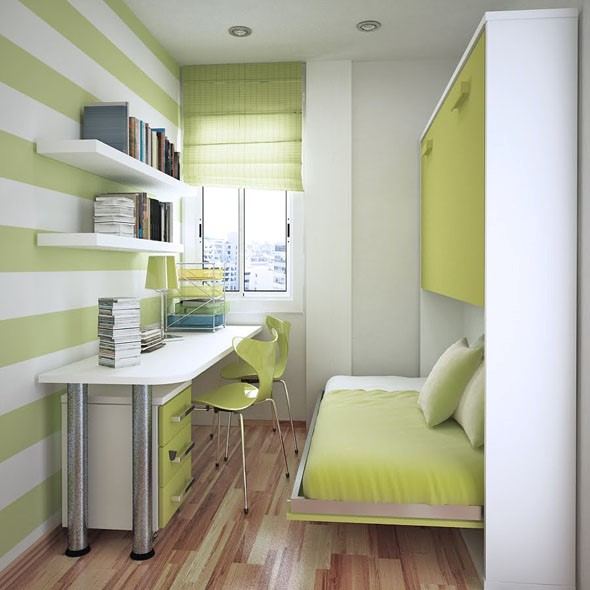 8 Invest in Open Shelves and Floating Bed via simphome