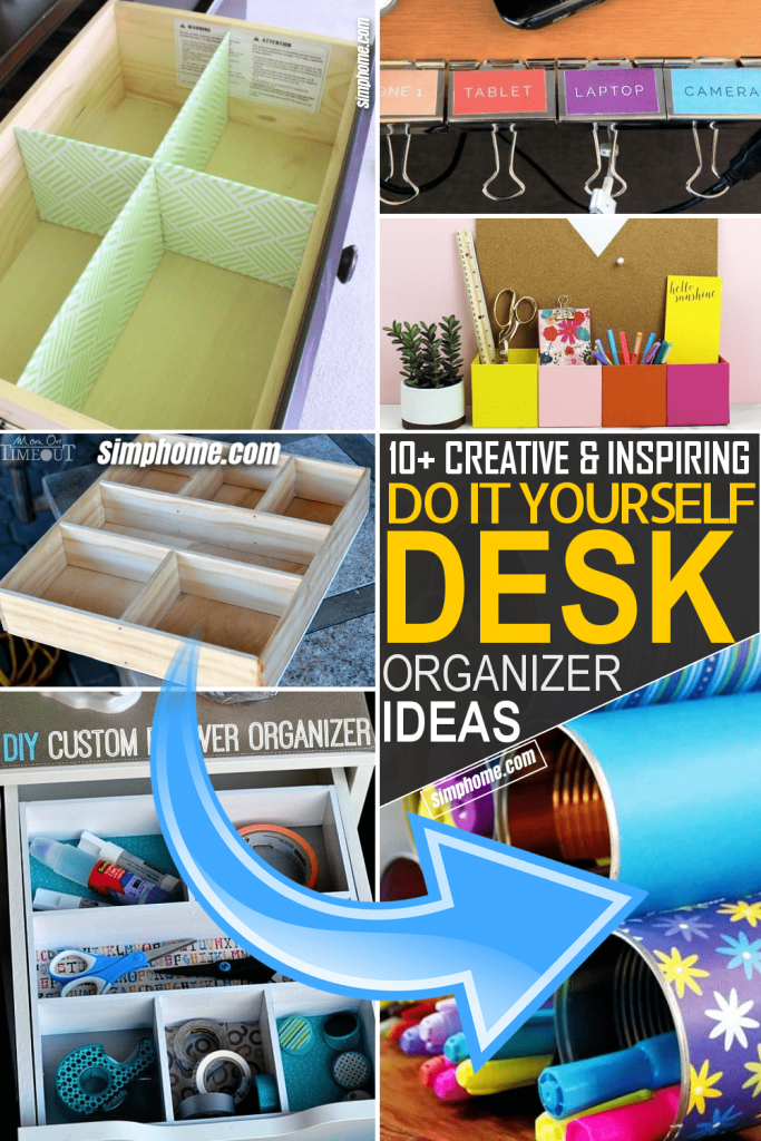 Simphome.com 10 DIY Desk Organizer Ideas Featured Long Image