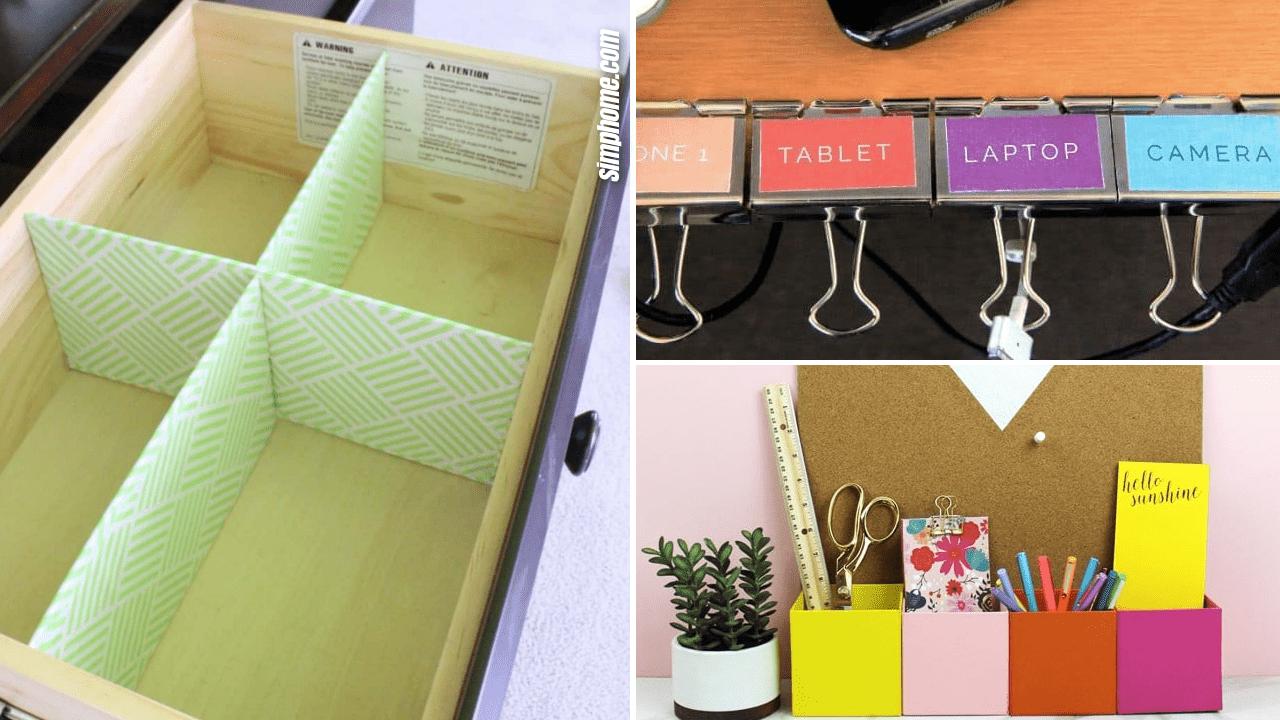 Simphome.com 10 DIY Desk Organizer Ideas Featured