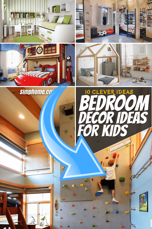 10 Bedroom Decor Idea for Kids via SIMPHOME.COM Featured Pinterest Image