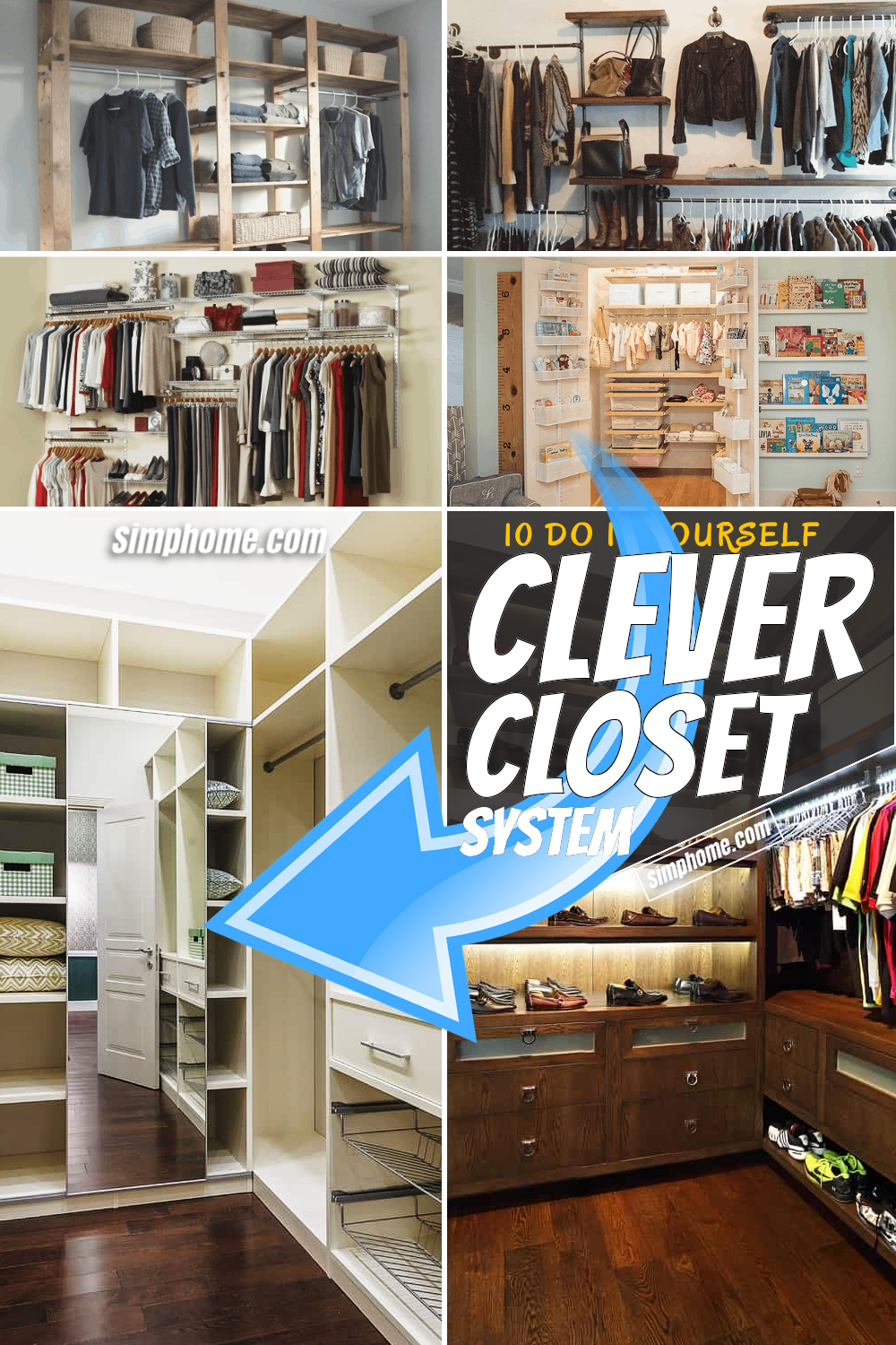 10 Clever Closet System via SIMPHOME.COM Featured Pinterest Image