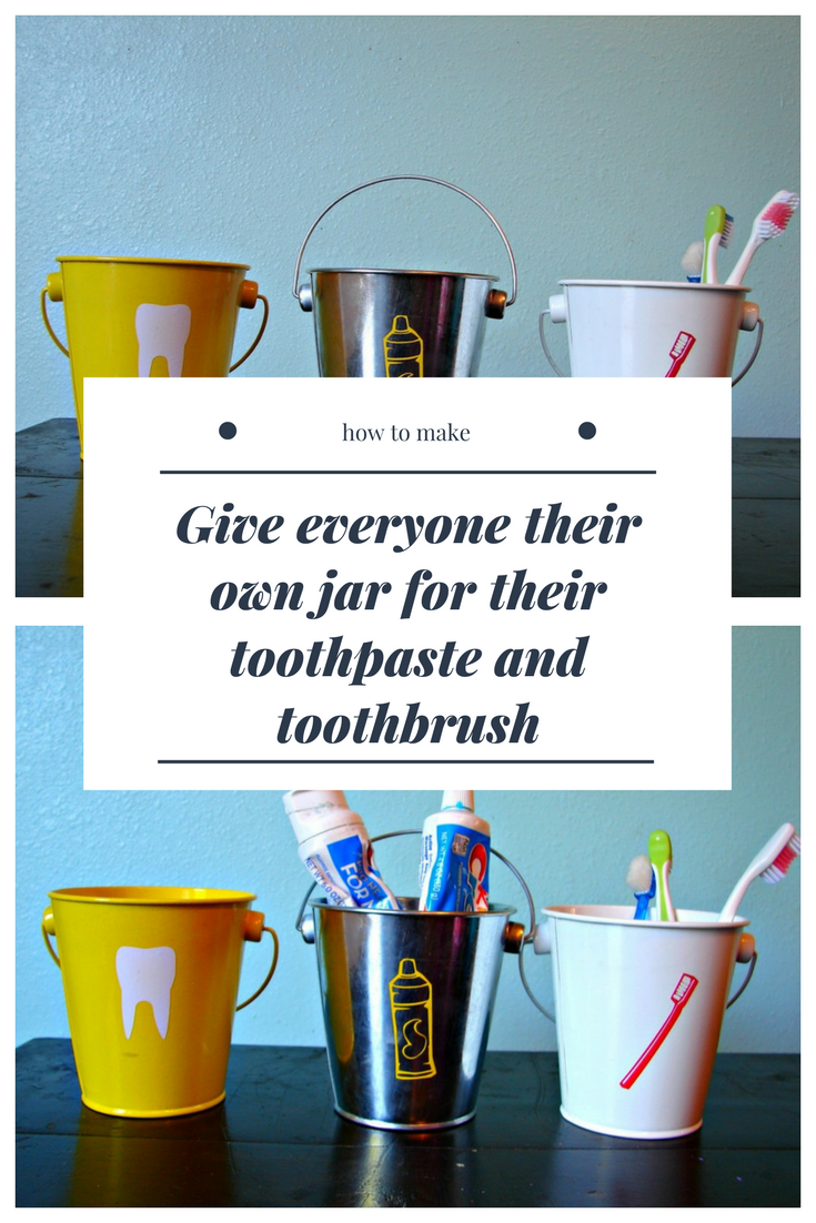 10 Give everyone their own jar for their toothpaste and toothbrush via simphome