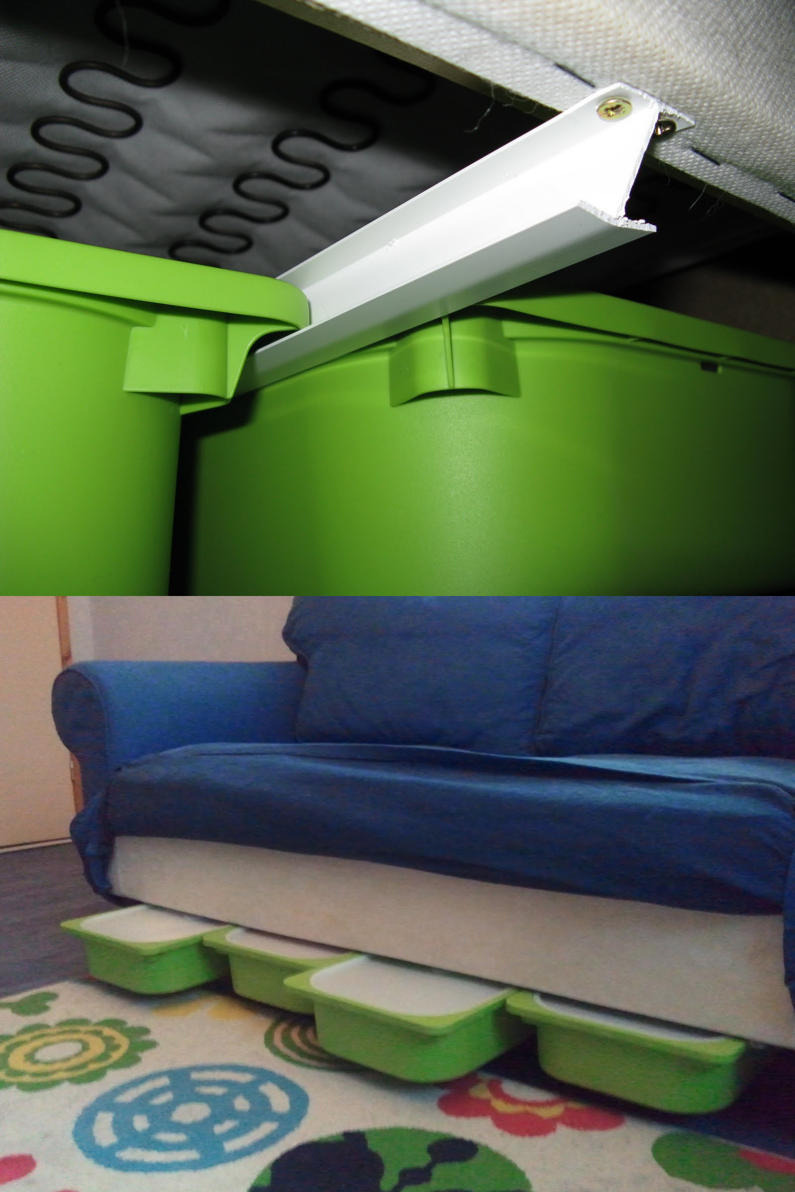 19 Create slide out under sofa toy storage using Trofast containers on H rails via simphome