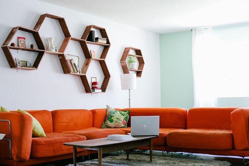 2 Hexagonal Open Shelves via simphome