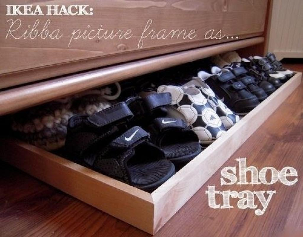 2 use Ribba picture frame as a slide out shoe tray underneath a dresser via simphome
