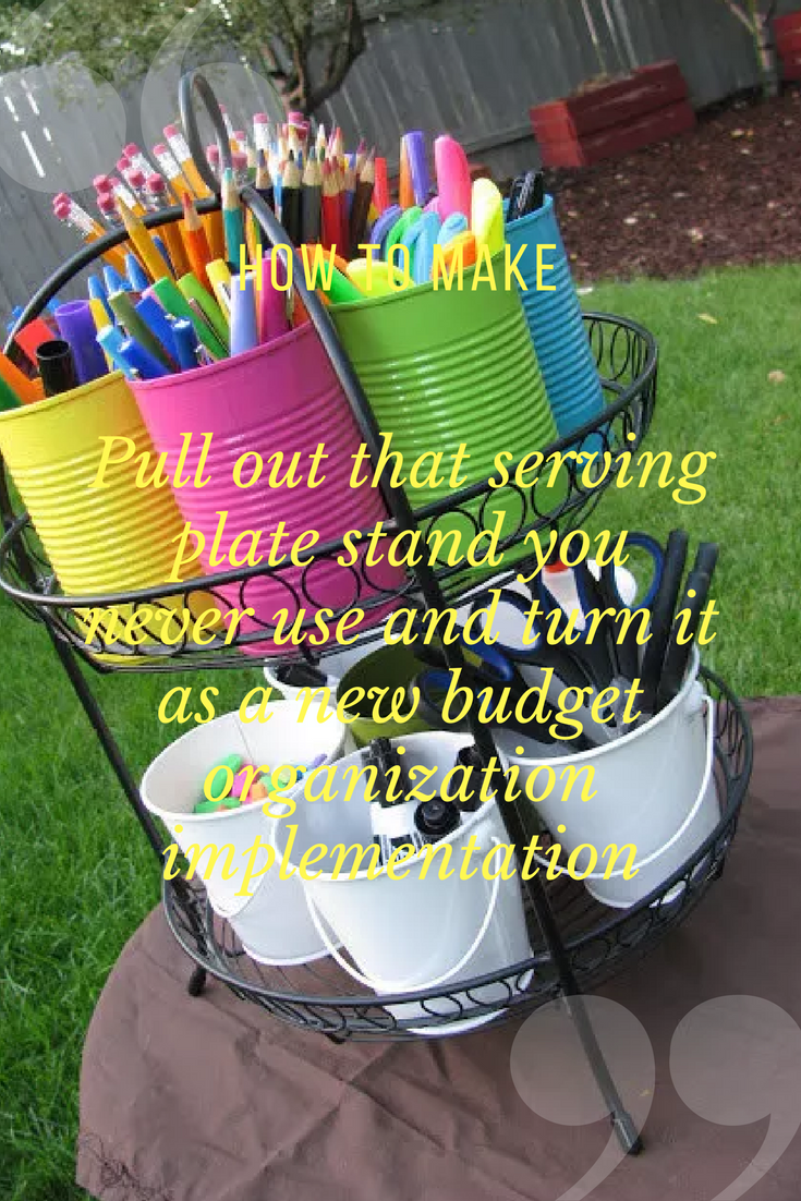 22 Pull out that serving plate stand you never use and turn it as a new budget organization implementation via simphome