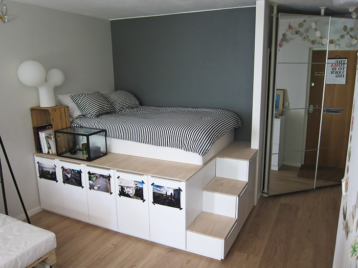 3 Raised Bed with Cabinets and Drawers via simphome