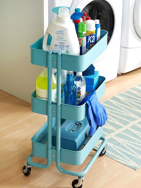 3 Use the Råskog for cleaning supplies that you can wheel from room to room via simphome 1
