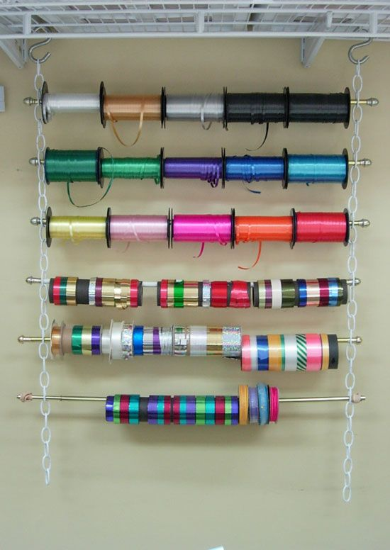 30 String up a rainbow of ribbon spools via simphome