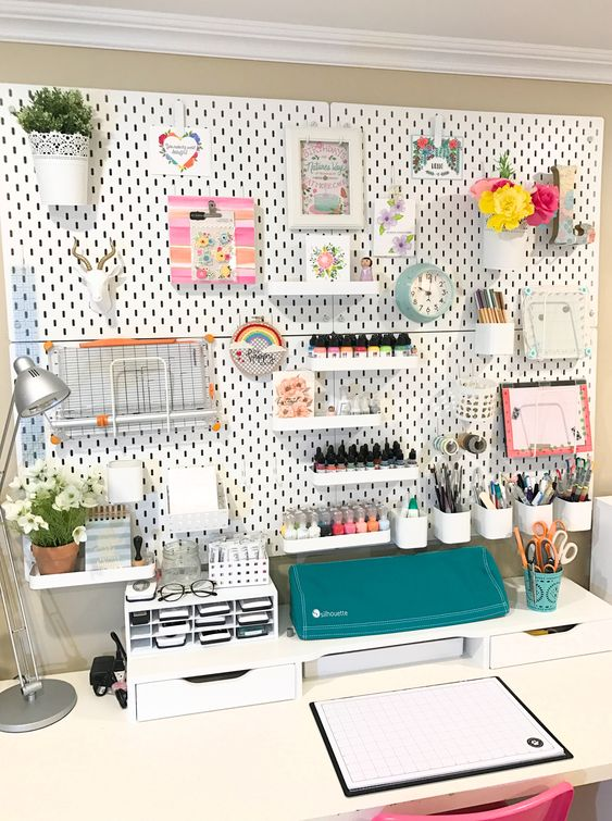 38 CRAFT ROOM ORGANIZATION MAKEOVER with IKEA SKADIS PEGBOARD via simphome