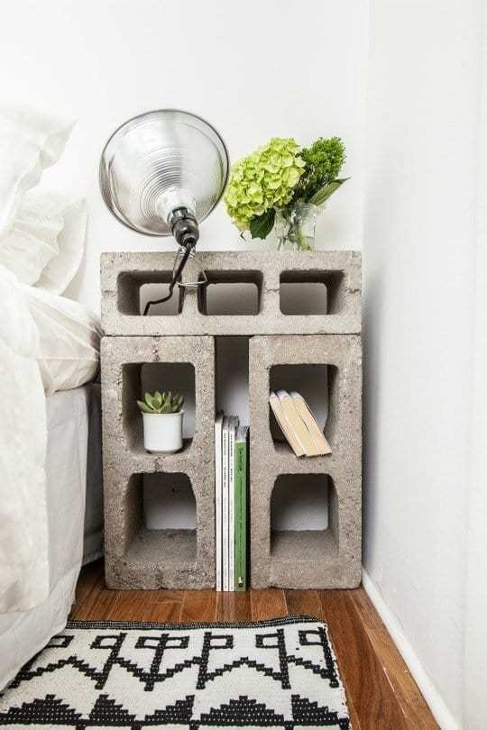 4 Cinder Block Nightstand via simphome