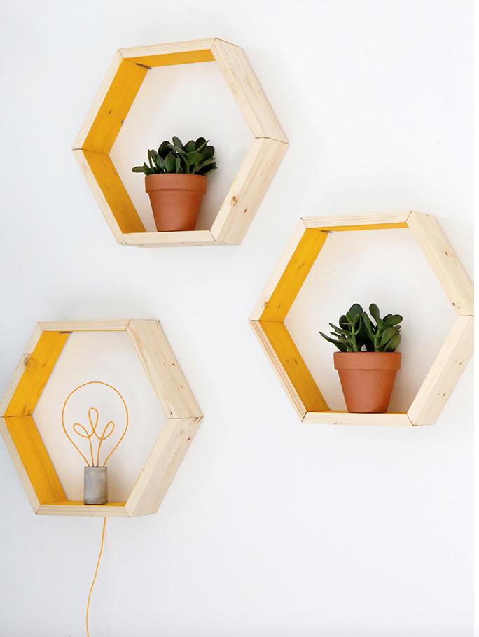 4 DIY Honeycomb Shelves via simphome