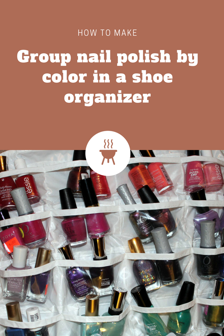 6 Group nail polish by color in a shoe organizer via simphome