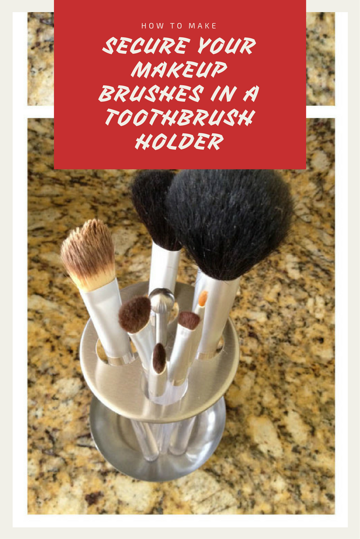 7 Secure your makeup brushes in a toothbrush holder via simphome