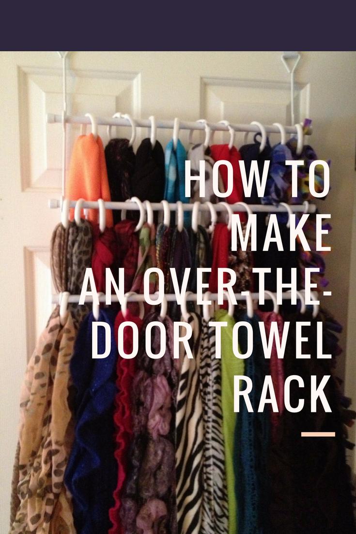 9 Loop shower curtain rings on an over the door towel rack via simphome