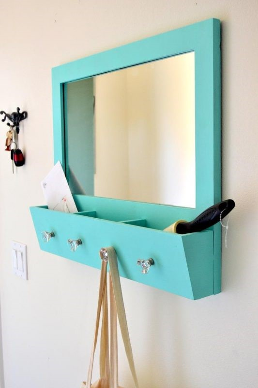 9 Vanity Mirror with Pockets and Hooks via simphome