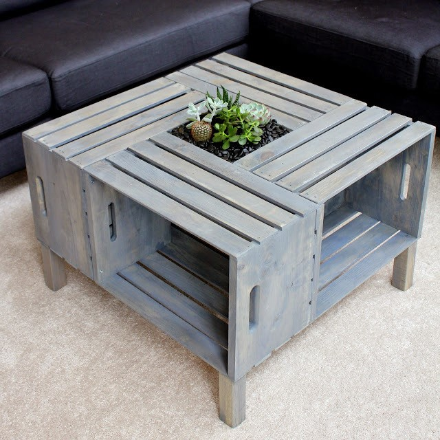 9 Wooden Crate Coffee Table via simphome