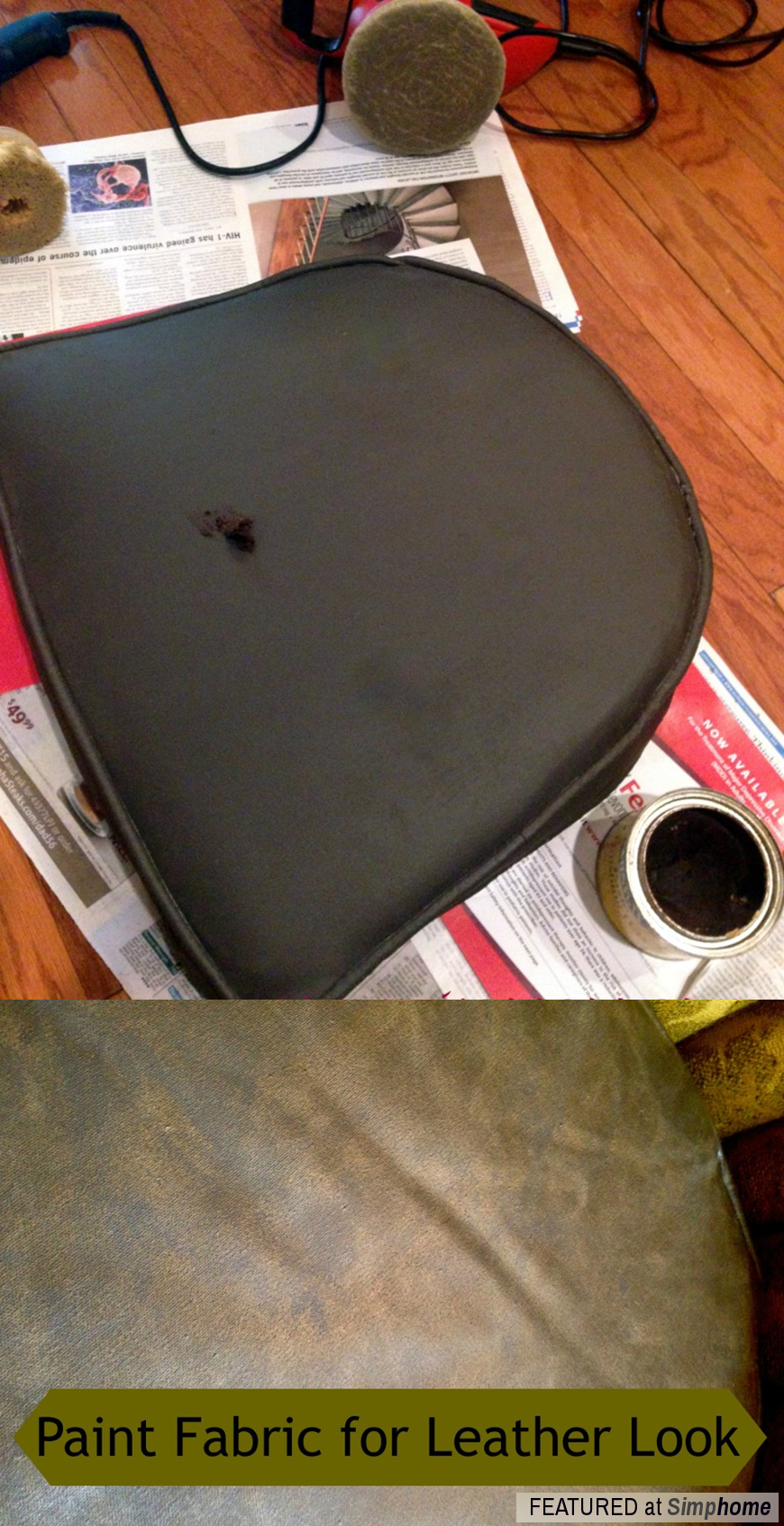 How to Paint Fabric to make it look like Leather via simphome Step 5