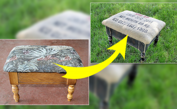How to Renew A Coffee Bag Footstool via simphome featured