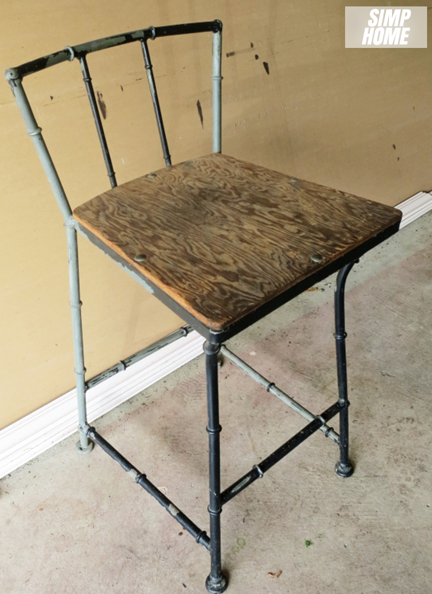 How to makeover Old Rustic Bar Stool using spray paint via simphome Before 1
