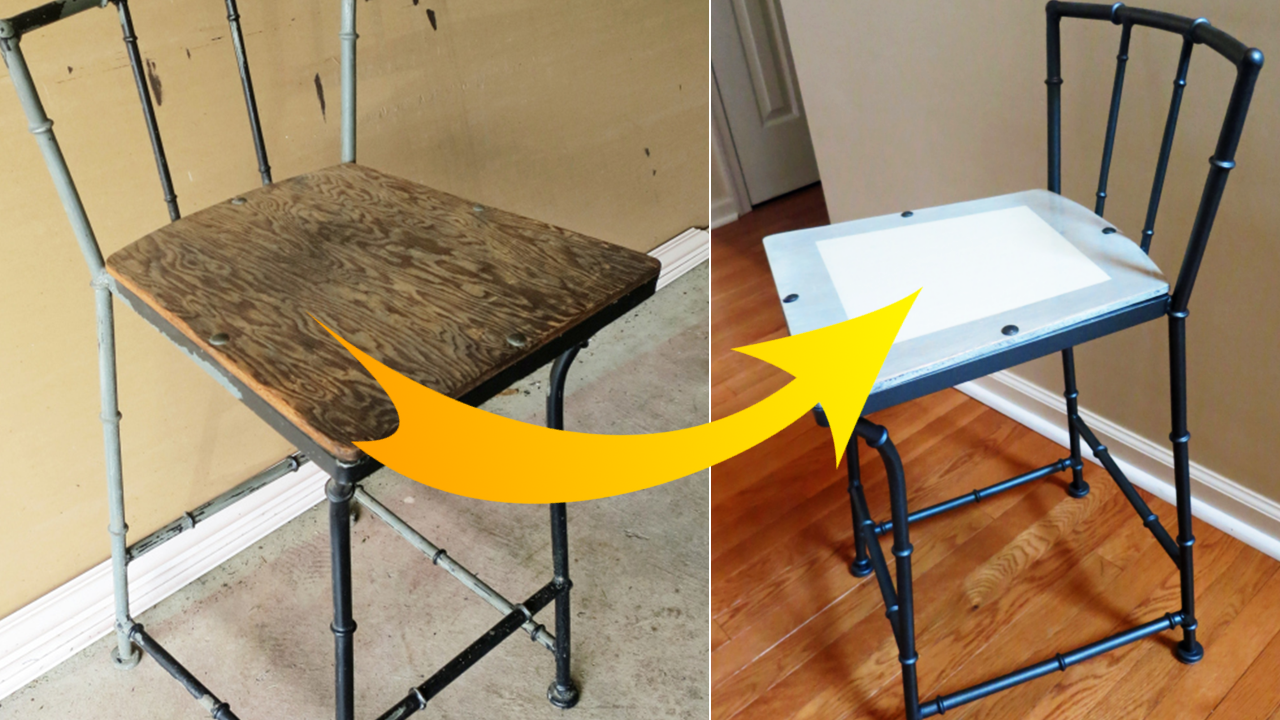 How to makeover Old Rustic Bar Stool using spray paint via simphome featured