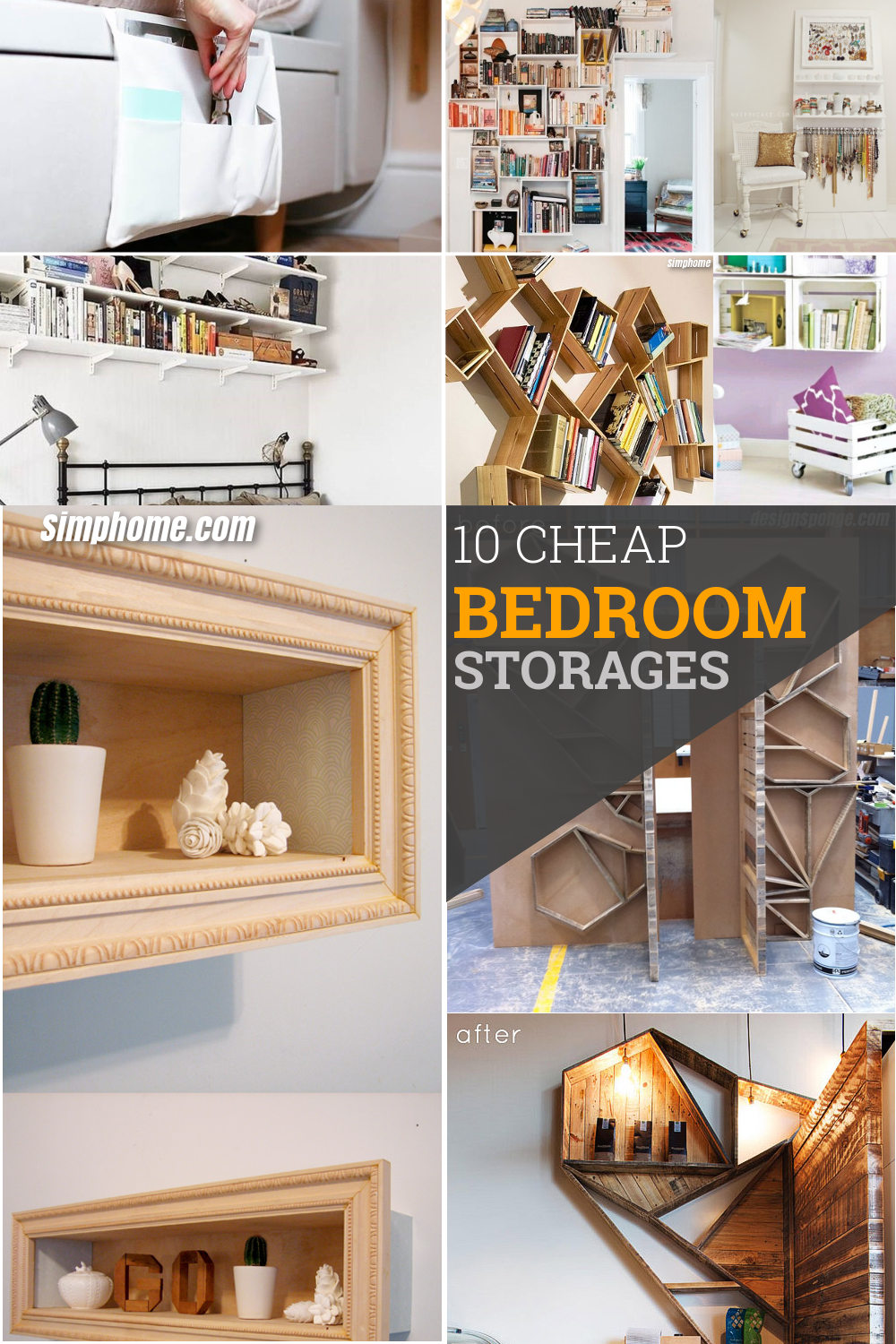 10 Cheap Bedroom Storage Ideas via Simphome pinterest image