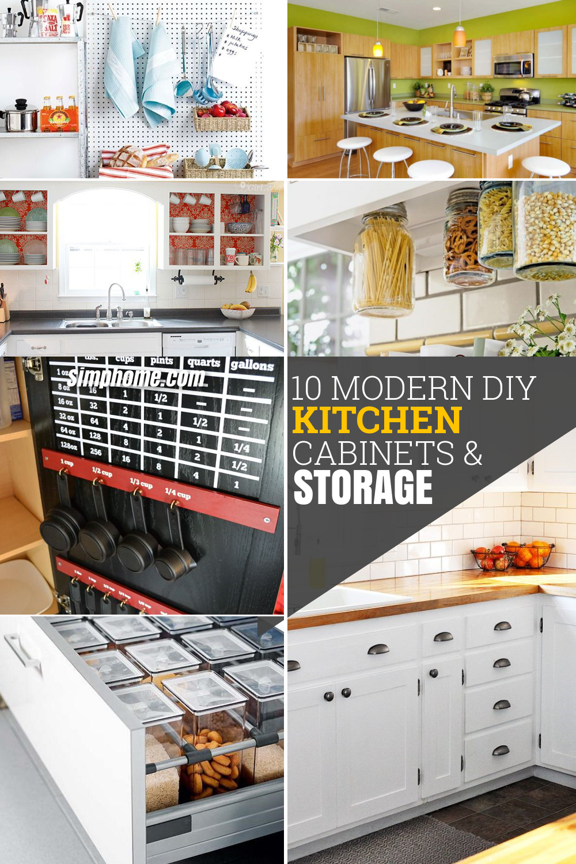 10 DIY Modern Kitchen Cabinet Ideas and Storage via Simphome com pinterest