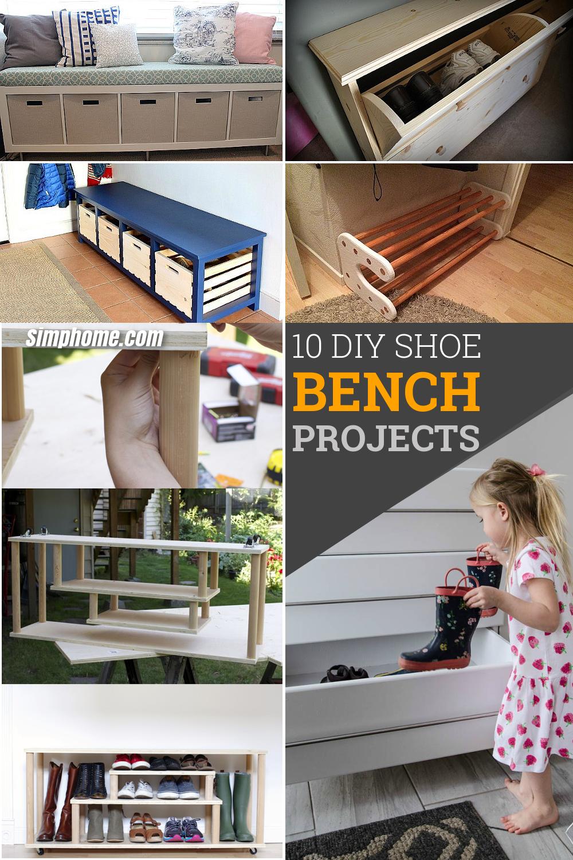 10 DIY Shoe Bench Project Ideas via simphome Pinterest image