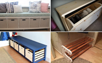 10 DIY Shoe Bench Project Ideas via simphome featured
