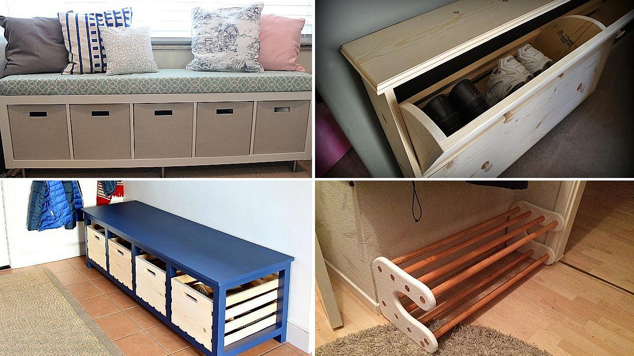 10 DIY Shoe Bench Project Ideas via simphome featured