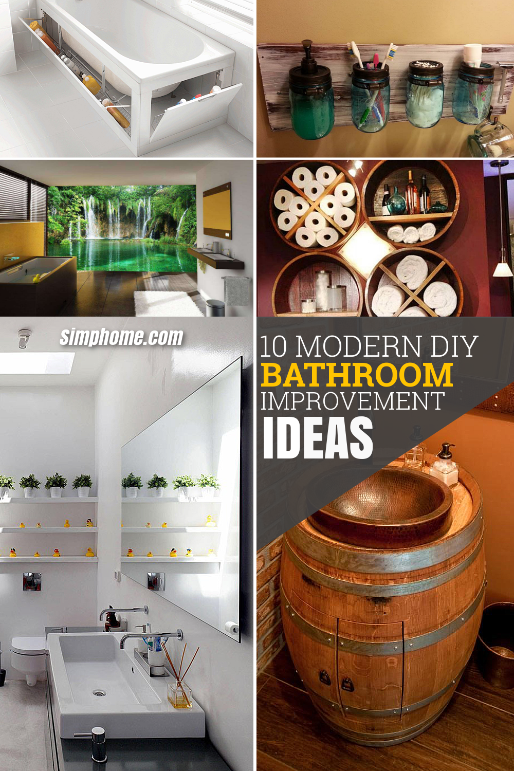 10 Modern Bathrooms and DIY Improvement Ideas via Simphome Pinterest image