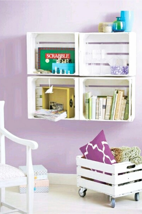 6 Wooden Crate Shelves via simphome com